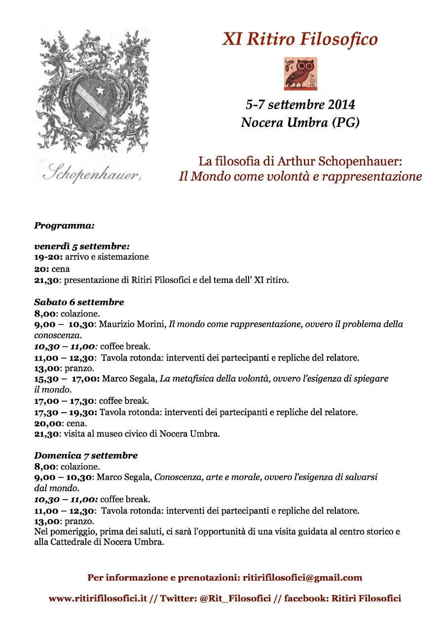Programma dell'XI Ritiro Filosofico