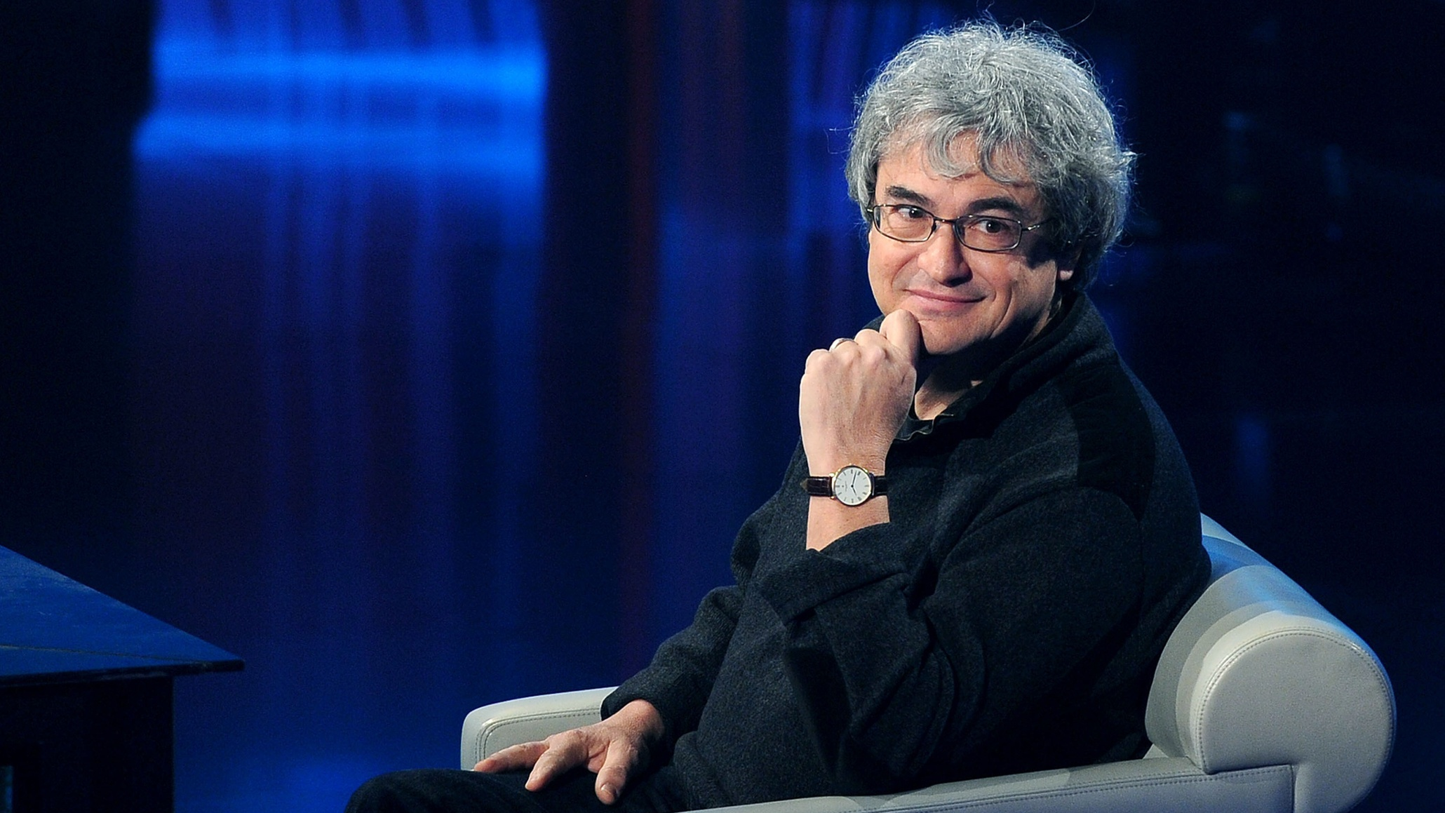 01 Feb 2015, Milan, Italy --- Maria De Filippi, J-Ax, Pierluigi Bersani and Carlo Rovelli appear on the Italian TV show 'Che tempo che fa', hosted by Fabio Fazio at RAI studios in Milan, Italy. Other guests included Luciana Littizzetto and Filippa Lagerback. Pictured: Carlo Rovelli --- Image by © Tony Reed/Splash News/Corbis